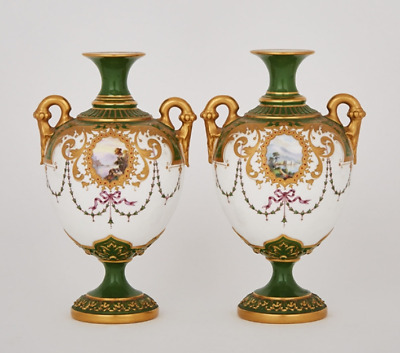 Pair of Royal Worcester Jewelled Green and Gilt Ground Two-Handled Vases, c.1900