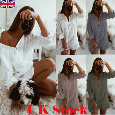 New Women Casual Long Sleeve Cotton Linen Shirt Dress Ladies Oversize Loose Tops