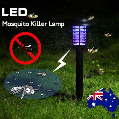 Solar Electric UV Zapper Mosquito Insect Repeller LED Lamp Light Garden Outdoor