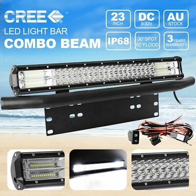 23Inch Tri-Row CREE LED Light Bar Front Bumper License Plate Mount Bracket Black