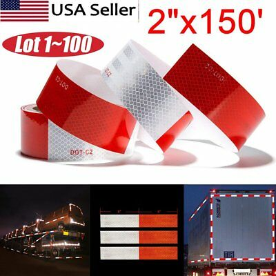 """2""""x150' DOT-C2 Reflective Safety Red White Conspicuity Tape Truck Trailer- LOT B"""