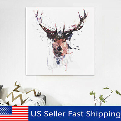 Deer Head Animal Modern Canvas Print Poster Watercolor Painting Decor Framed