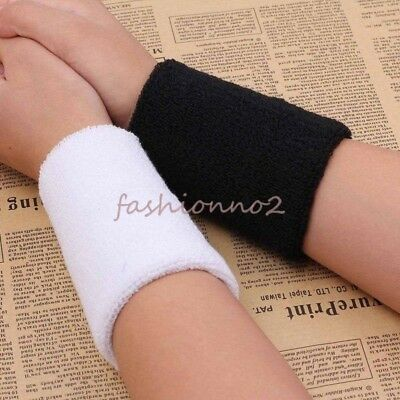 2pcs Sports Basketball Unisex Cotton Sweat Band Sweatband Wristband Wrist Band