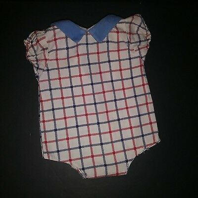 """Vintage 1940s 1950s Large 18"""" Doll Red White Blue Windowpane Romper Play Suit"""