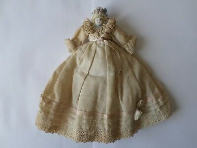 """Antique early 20th century porcelain headed doll original costume 7.5"""" or 19 cm"""