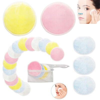 16Pcs Reusable Makeup Remover Double Layer Wipes Facial Cleanser Pads Washable