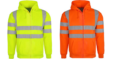 Hi Vis Viz High Visibility Hooded Fleece Full Zip Hoodie Sweatshirt Jacket S-3Xl