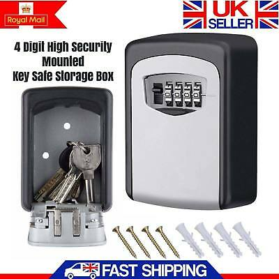 OUTDOOR KEY SAFE BOX Combination Dial Wall Mounted House Car Garage Keys 4 Digit