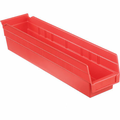 "Akro-Mils 30128 Plastic Shelf Bin Nestable - 4-1/8""W x 17-7/8""D x 4""H Red, Lot"