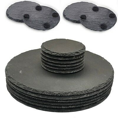 Set of 8 Natural Slate ROUND 4 Placemats & 4 Coasters Tablemat Dinner Set