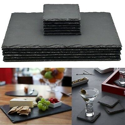 Set of 8 Natural Slate SQUARE 4 Placemats & 4 Coasters Tablemat Dinner Set