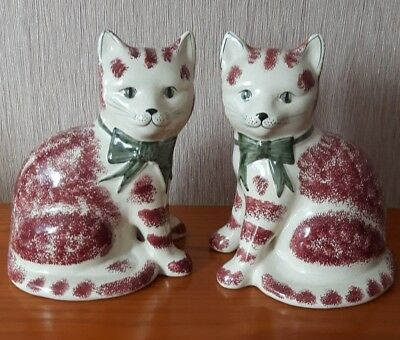 Rye Pottery pair of ornamental cats.
