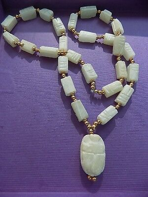Vintage Egyptian Carved Faience Scarab Bead Necklace