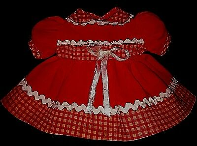 """Vintage 1950s DOLL Clothes Red White Gingham DRESS 14"""" Nannette Ideal Toni Style"""