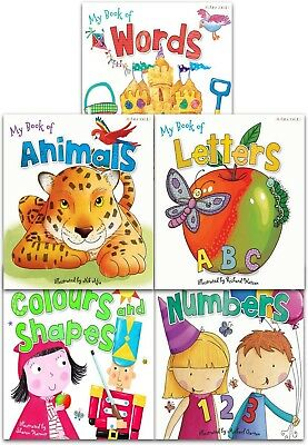 My First Words and Number Collection 5 Books Set Words, Animals, Colours Shape