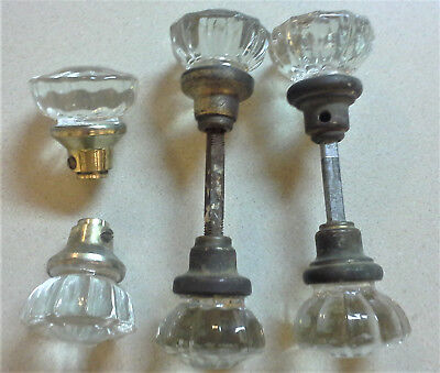 Vintage clear glass door knobs 12 points - 2 pair + 2 individual - NICE!