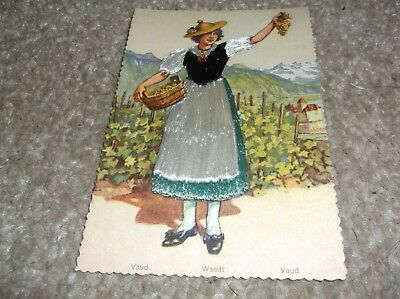 Vintage  postcard, amazing embroidered country silk dress