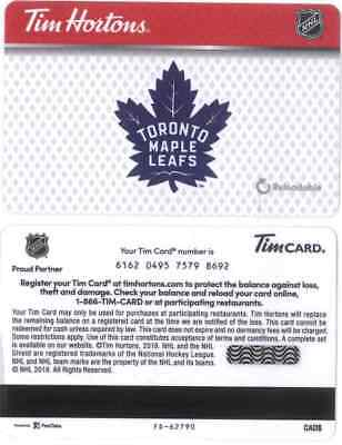 Gift Card: Tim Hortons (Canada) 2018 NHL Toronto Maple Leafs FD62790, new issue!