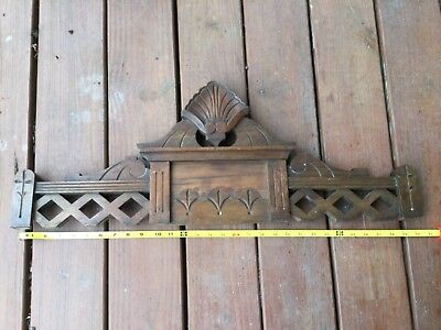 ANTIQUE Victorian EASTLAKE CARVED WOOD PEDIMENT SALVAGE Door Bed ARCHITECTURAL