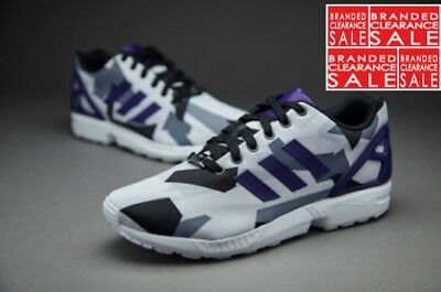 new product 11cd6 5504e BNIB NEW MEN Adidas ZX Flux trainers Purple White Black Carbon 8 9 uk