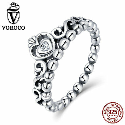 VOROCO Solid 925 Sterling Silver Crown Rings With AAA CZ Thail Silver Band Rings