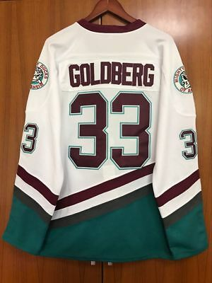 b0b064404b7 Mighty Ducks Movie Jersey  33 Greg Goldberg Hockey Jersey All Stitched White