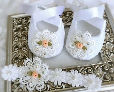 Baby White Christening Baptism Shoes Crochet Lace flower Headband set