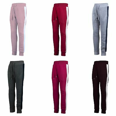 Kids Trousers Warm Boys Tracksuit Bottoms Girls Side Stripped Joggers 3-14 Y