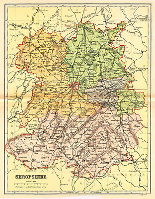 Map of the County of Shropshire, England.