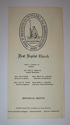 First Baptist Church Brochure, Charleston, S C , 1960's, Oldest Baptist Church