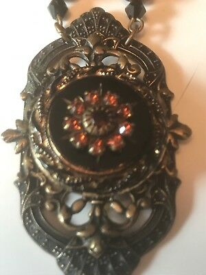Vintage Ornate Brass Necklace With fancy endcaps Crystal Beads & Rhinestones