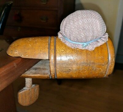 Antique Sewing Clamp Table Mount Pincushion 19th Century Turned Wood