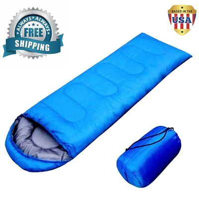 Ultralight Single Envelope Sleeping Bag Camping Hiking w/ Carrying Bag -Blue BT