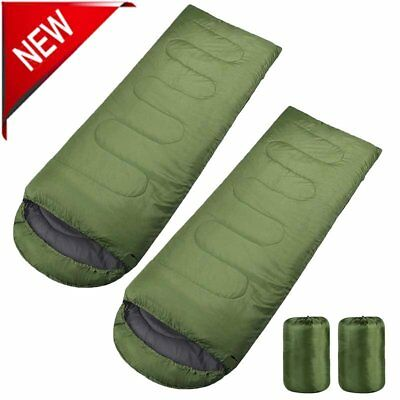2X Single Sleeping Bag Easy To Carry 3 Seasons Adult Outdoors Camping Hiking BT