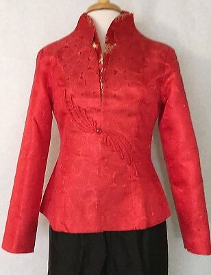 Chinese Women Fashion Cheongsam Style Jacket Coat Red ith Floral Print
