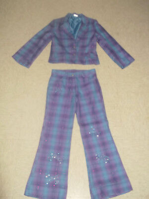 Funky Kid's Vintage 90s Suit Flares Jacket Peace Angel Check Plaid Purple Blue