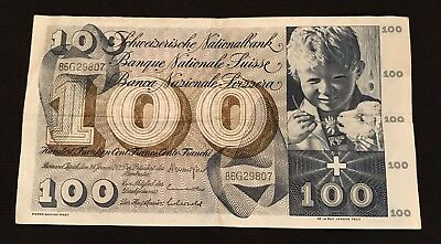 1972 100 Hundred Swiss Franc Note Currency Crisp Circulated Switzerland