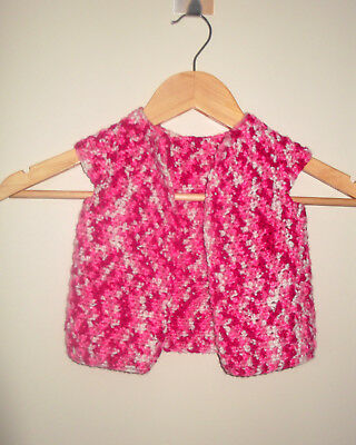 Cute Vintage Baby Crocheted Waistcoat Vest Cardigan 12-18months Pink White