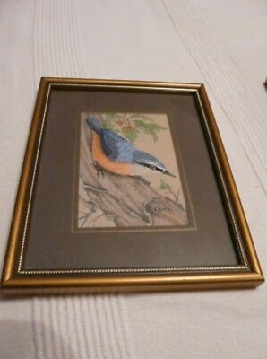 """Cash's Woven Picture """"Nuthatch"""" - Fiber Art Coventry England"""