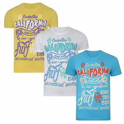 Conspiracy California New Mens Print Cotton T-shirt CALI Surf Yellow White  Blue 81ed069a0