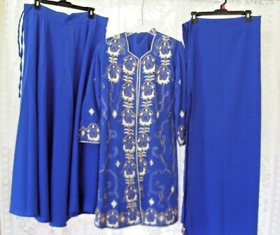 Indian Ethnic 3 pcs Lengha Kurti Duptta with embroidery & beads work Royal Blue