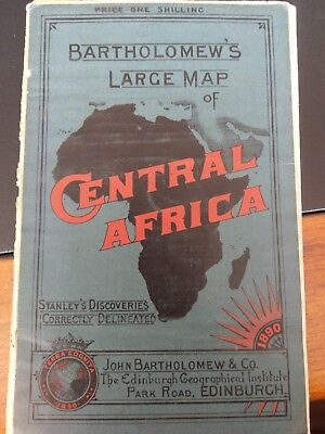 Bartholomews Large Map of Central Africa 1890 - Stanleys Discoveries