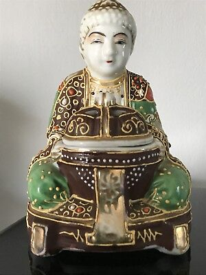 Vintage Hand Painted Buddha porcelain Figure Figurine Incense Burner Japan