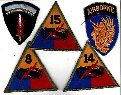 WW2  group of 5 patches: 13th Airborne, Armor Divs, & handsome Brit H/made SHAEF