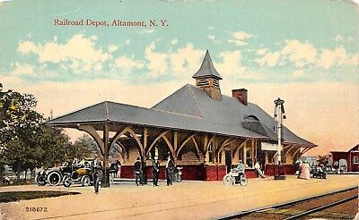 Altamont, NY-Railroad Station and Tracks-Old Cars-on a Post Card View