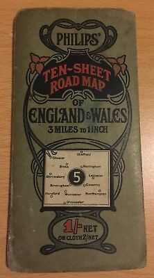 Vintage Philip's Map of Certral Englans sheet 5, Art Nouveau cover.