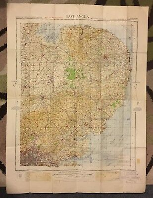 Vintage WW2 War revision map of East Anglia 1940