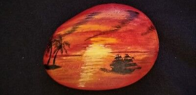 Sunset, Sail Boat, Hand Painted, River Rock,Art, Acrylic, Paper weight, Gift,
