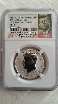2014 KENNEDY 50TH ANNIVERSARY HIGH RELIEF REVERSE PROOF 70 50c