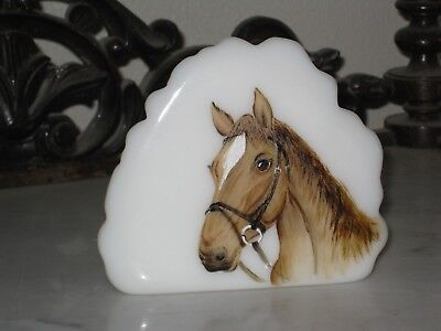 2018 Fenton Art Glass Hp Opal Ice Berg Quarter Horse Paperweight   Le
